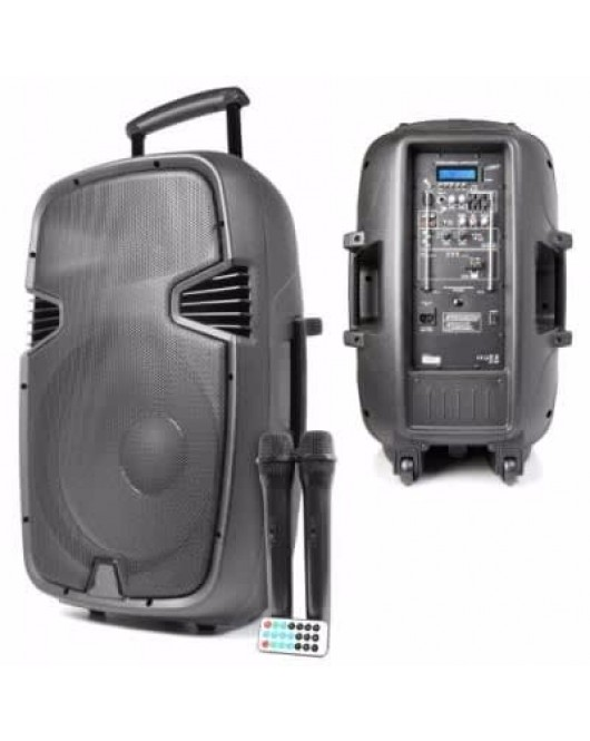 JBM 1800W Rechargeable 12 Inches Public Address System with Bluetooth Two Wireless Mic J-12